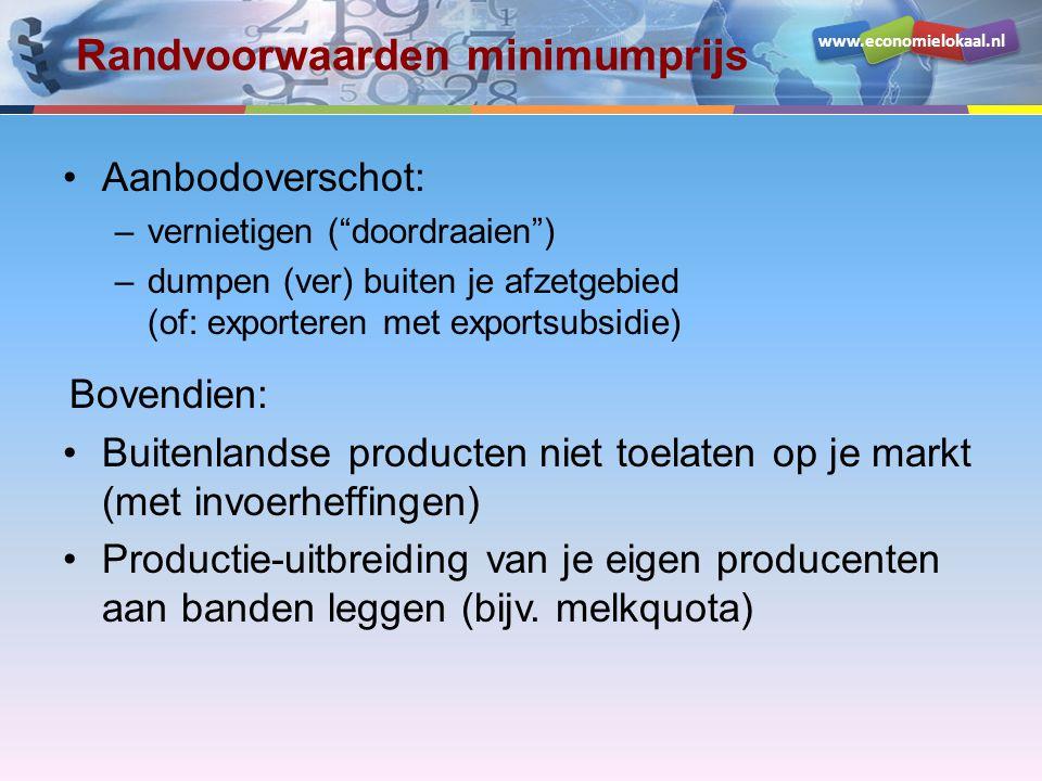 www.economielokaal.nl Randvoorwaarden minimumprijs Aanbodoverschot: –vernietigen ( doordraaien ) –dumpen (ver) buiten je afzetgebied (of: exporteren met exportsubsidie) Bovendien: Buitenlandse producten niet toelaten op je markt (met invoerheffingen) Productie-uitbreiding van je eigen producenten aan banden leggen (bijv.