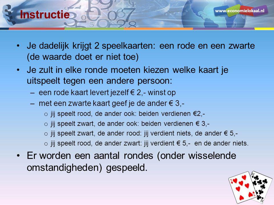 www.economielokaal.nl Instructie Je dadelijk krijgt 2 speelkaarten: een rode en een zwarte (de waarde doet er niet toe) Je zult in elke ronde moeten k
