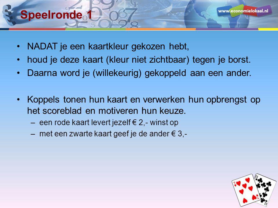 www.economielokaal.nl Speelronde 1 NADAT je een kaartkleur gekozen hebt, houd je deze kaart (kleur niet zichtbaar) tegen je borst. Daarna word je (wil