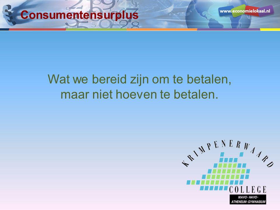 www.economielokaal.nl Wat we bereid zijn om te betalen, maar niet hoeven te betalen.