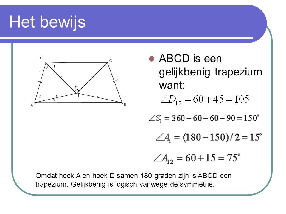 Het bewijs ABCD is een gelijkbenig trapezium want: Omdat hoek A en hoek D samen 180 graden zijn is ABCD een trapezium.