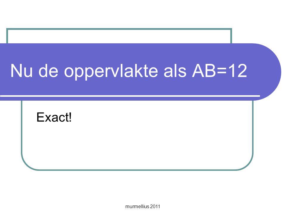 murmellius 2011 Nu de oppervlakte als AB=12 Exact!