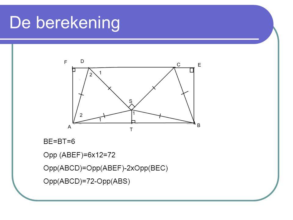 De berekening BE=BT=6 Opp (ABEF)=6x12=72 Opp(ABCD)=Opp(ABEF)-2xOpp(BEC) Opp(ABCD)=72-Opp(ABS)
