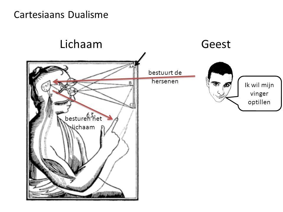 Cartesiaans Dualisme bestuurt de hersenen besturen het lichaam Ik wil mijn vinger optillen LichaamGeest