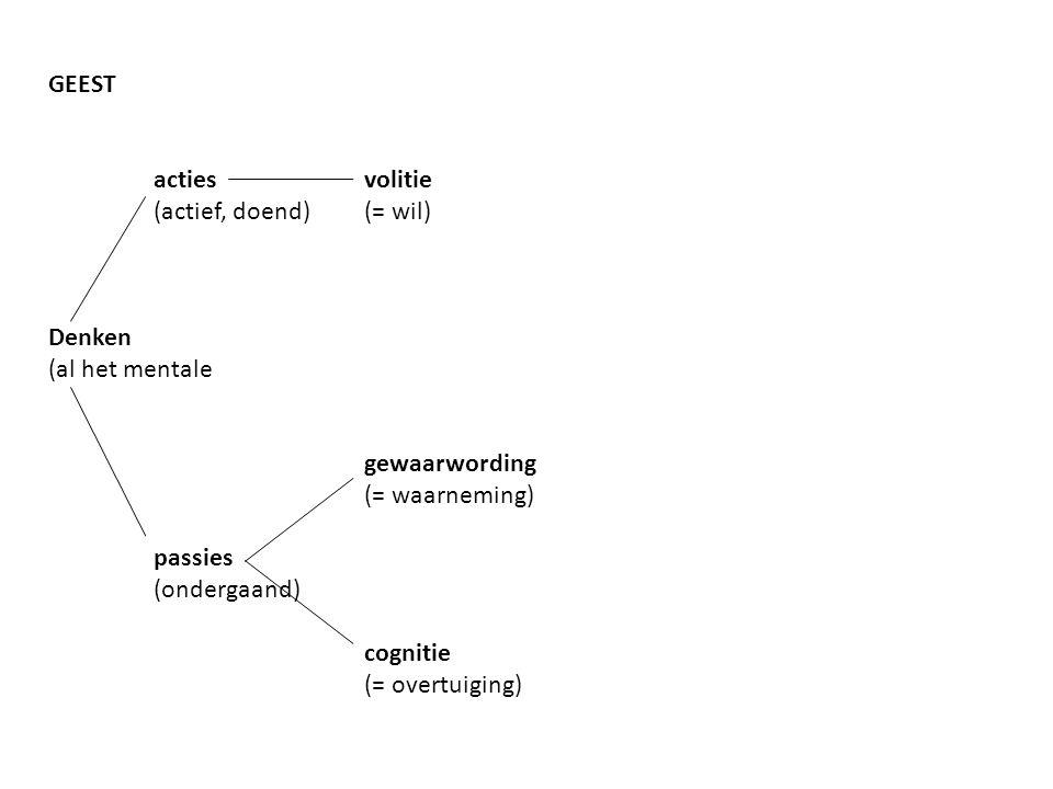 GEEST op lichaam gericht (ik wil arm optillen) actiesvolitie (actief, doend)(= wil) op geest gericht (ik wil deze som oplossen) Denken (al het mentale gewaarwording (= waarneming) passies (ondergaand) cognitie (= overtuiging)