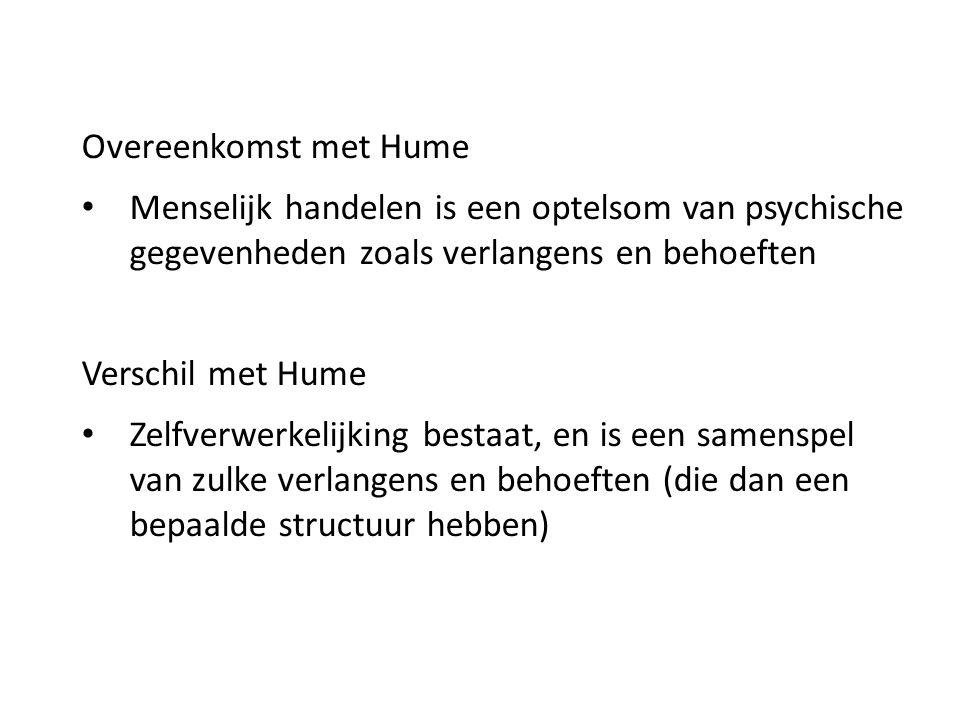 Overeenkomst met Hume Menselijk handelen is een optelsom van psychische gegevenheden zoals verlangens en behoeften Verschil met Hume Zelfverwerkelijki