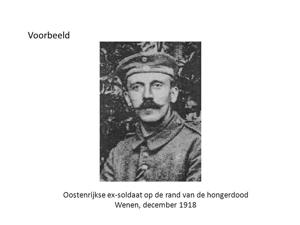 Voorbeeld Oostenrijkse ex-soldaat op de rand van de hongerdood Wenen, december 1918
