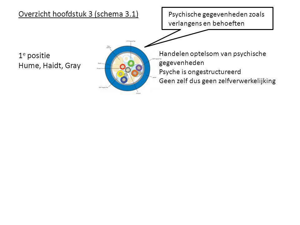 Overzicht hoofdstuk 3 (schema 3.1) Psychische gegevenheden zoals verlangens en behoeften 1 e positie Hume, Haidt, Gray Handelen optelsom van psychische gegevenheden Psyche is ongestructureerd Geen zelf dus geen zelfverwerkelijking
