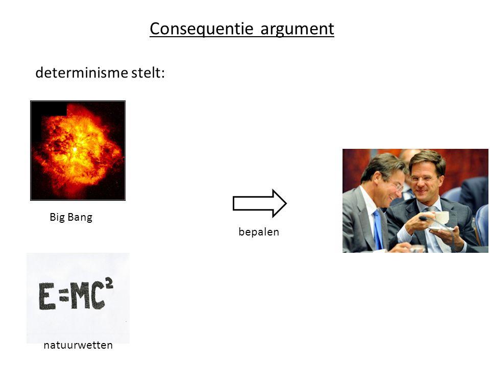 Consequentie argument determinisme stelt: bepalen Big Bang natuurwetten