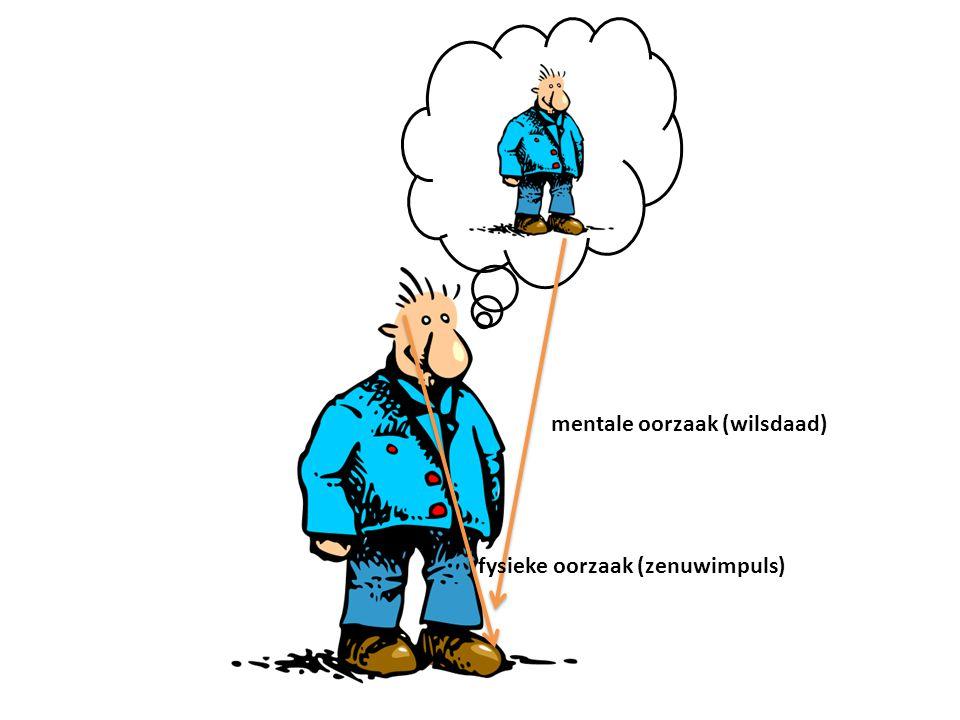 fysieke oorzaak (zenuwimpuls) mentale oorzaak (wilsdaad)