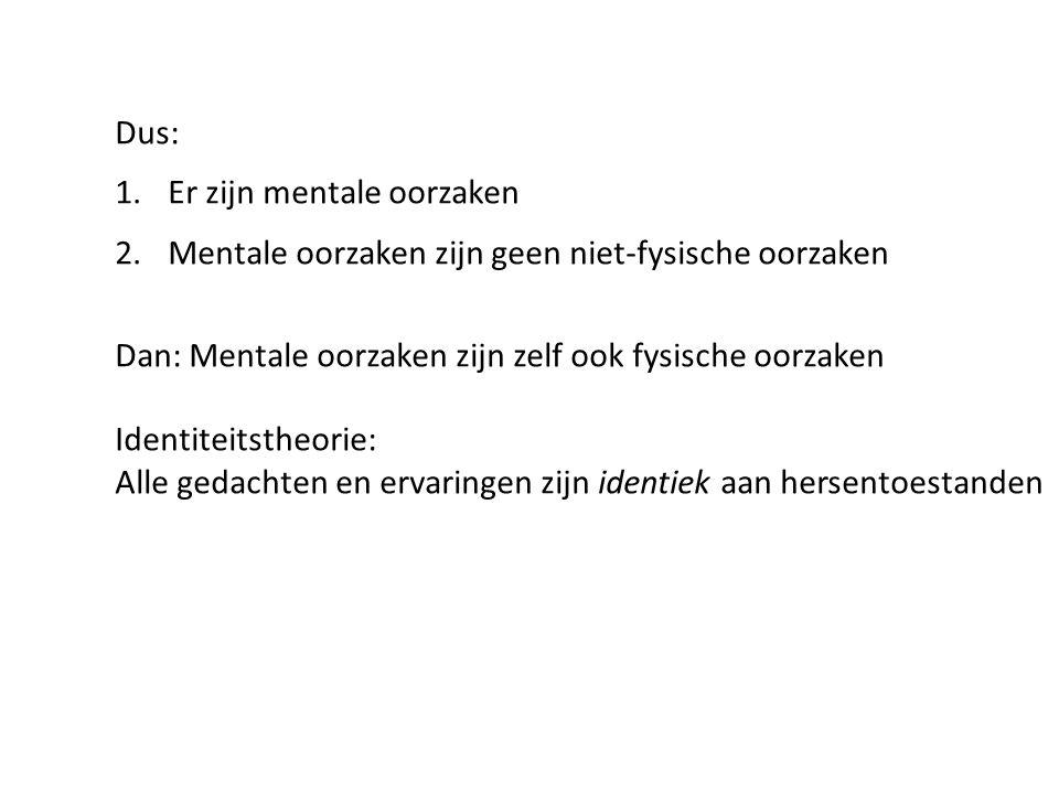 Dus: 1.Er zijn mentale oorzaken 2.Mentale oorzaken zijn geen niet-fysische oorzaken Dan: Mentale oorzaken zijn zelf ook fysische oorzaken Identiteitst