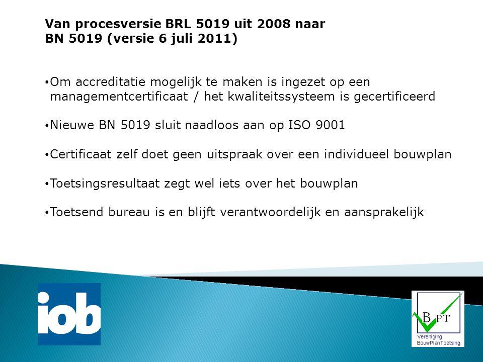 Van procesversie BRL 5019 uit 2008 naar BN 5019 (versie 6 juli 2011) Om accreditatie mogelijk te maken is ingezet op een managementcertificaat / het k