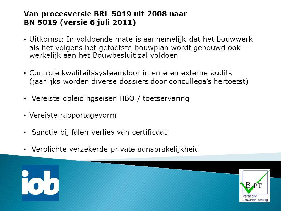 Van procesversie BRL 5019 uit 2008 naar BN 5019 (versie 6 juli 2011) Uitkomst: In voldoende mate is aannemelijk dat het bouwwerk als het volgens het g