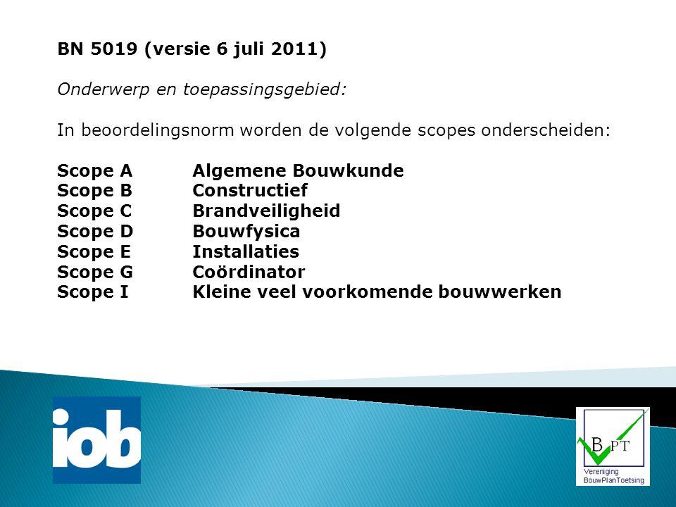 BN 5019 (versie 6 juli 2011) Onderwerp en toepassingsgebied: In beoordelingsnorm worden de volgende scopes onderscheiden: Scope AAlgemene Bouwkunde Sc