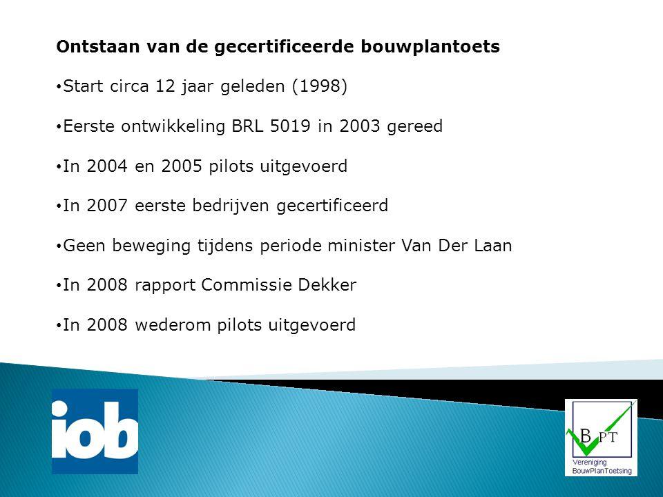 Ontstaan van de gecertificeerde bouwplantoets Start circa 12 jaar geleden (1998) Eerste ontwikkeling BRL 5019 in 2003 gereed In 2004 en 2005 pilots ui
