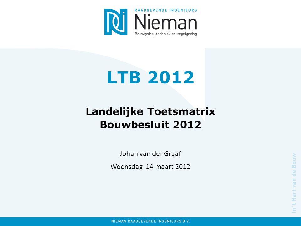 LTB 2012 Landelijke Toetsmatrix Bouwbesluit 2012 Johan van der Graaf Woensdag 14 maart 2012