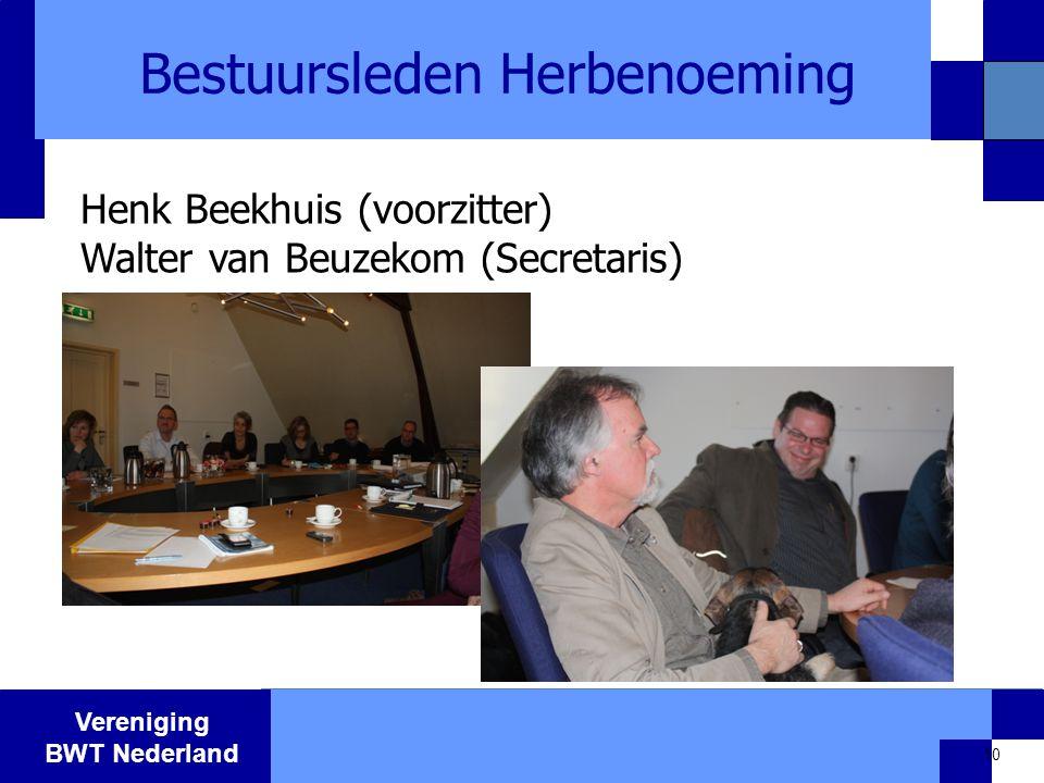 Vereniging BWT Nederland Bestuursleden Herbenoeming 10 Henk Beekhuis (voorzitter) Walter van Beuzekom (Secretaris)