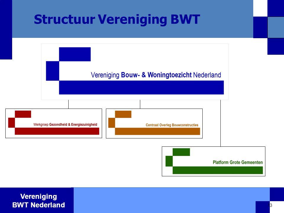 Vereniging BWT Nederland 13 Structuur Vereniging BWT - Benchmarkproject BWT grote gemeenten - Platform Bouw- en Woningtoezicht grote gemeenten - 23 mei 2003 oprichting projectvereniging CKB - 10 oktober 2003 …