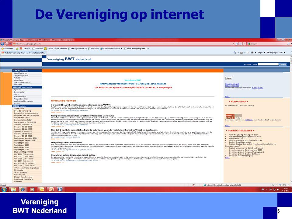 Vereniging BWT Nederland 16 De Vereniging op internet