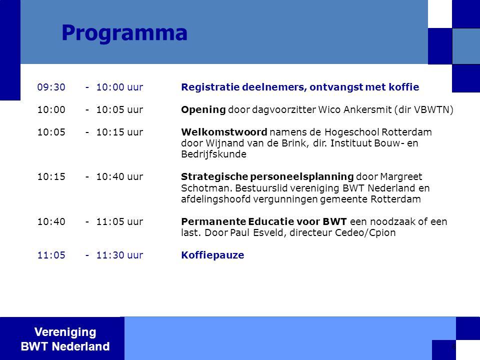 Vereniging BWT Nederland 6 Programma 09:30- 10:00 uurRegistratie deelnemers, ontvangst met koffie 10:00- 10:05 uurOpening door dagvoorzitter Wico Ankersmit (dir VBWTN) 10:05- 10:15 uurWelkomstwoord namens de Hogeschool Rotterdam door Wijnand van de Brink, dir.
