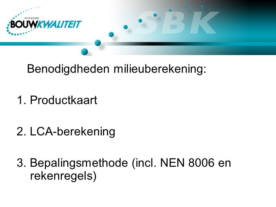 Benodigdheden milieuberekening: 1. Productkaart 2.