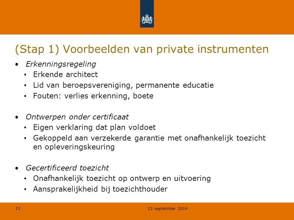 11 (Stap 1) Voorbeelden van private instrumenten Erkenningsregeling Erkende architect Lid van beroepsvereniging, permanente educatie Fouten: verlies e