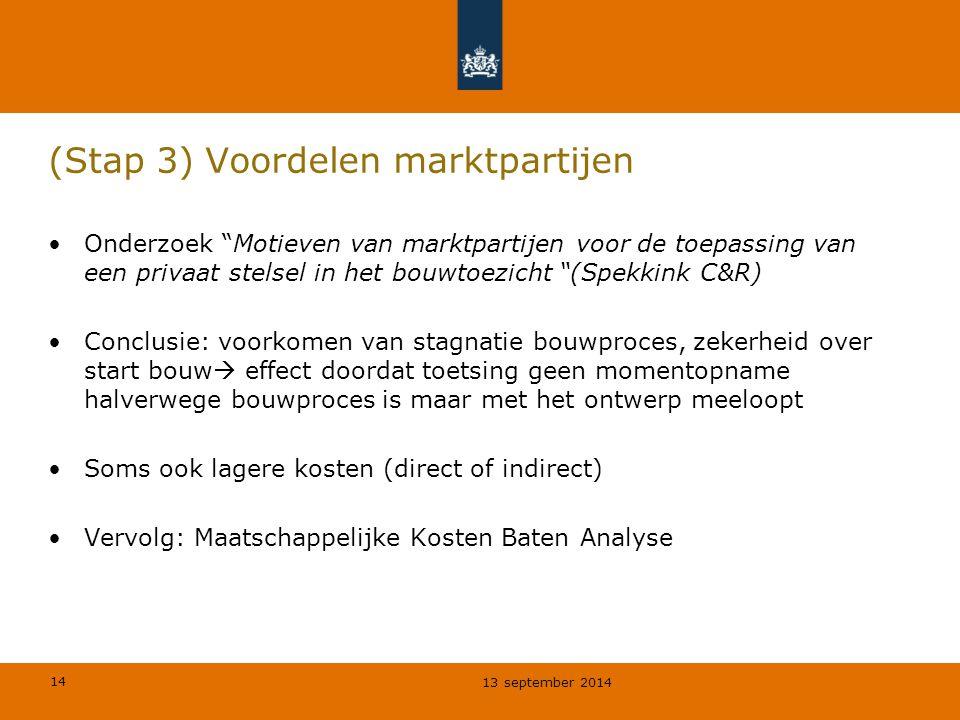 """14 (Stap 3) Voordelen marktpartijen Onderzoek """"Motieven van marktpartijen voor de toepassing van een privaat stelsel in het bouwtoezicht """"(Spekkink C&"""