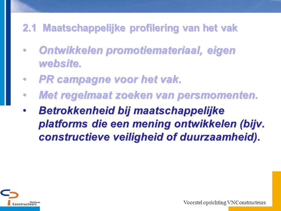2.1 Maatschappelijke profilering van het vak Ontwikkelen promotiemateriaal, eigen website.Ontwikkelen promotiemateriaal, eigen website.