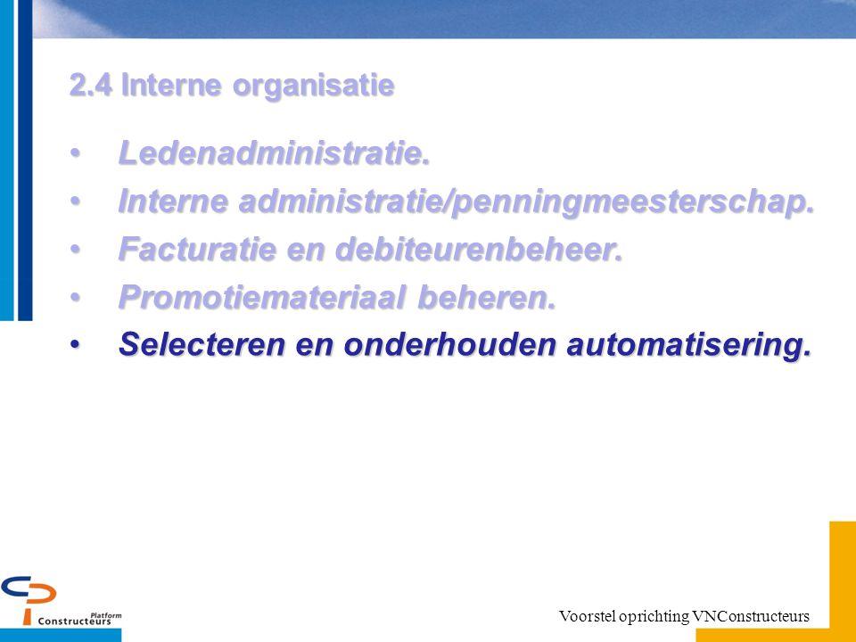 2.4 Interne organisatie Ledenadministratie.Ledenadministratie.