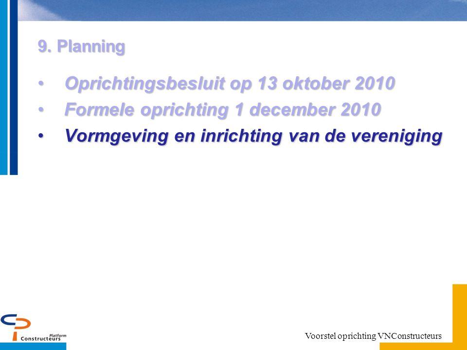 9. Planning Oprichtingsbesluit op 13 oktober 2010Oprichtingsbesluit op 13 oktober 2010 Formele oprichting 1 december 2010Formele oprichting 1 december