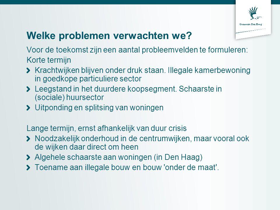 Welke problemen verwachten we? Voor de toekomst zijn een aantal probleemvelden te formuleren: Korte termijn Krachtwijken blijven onder druk staan. Ill