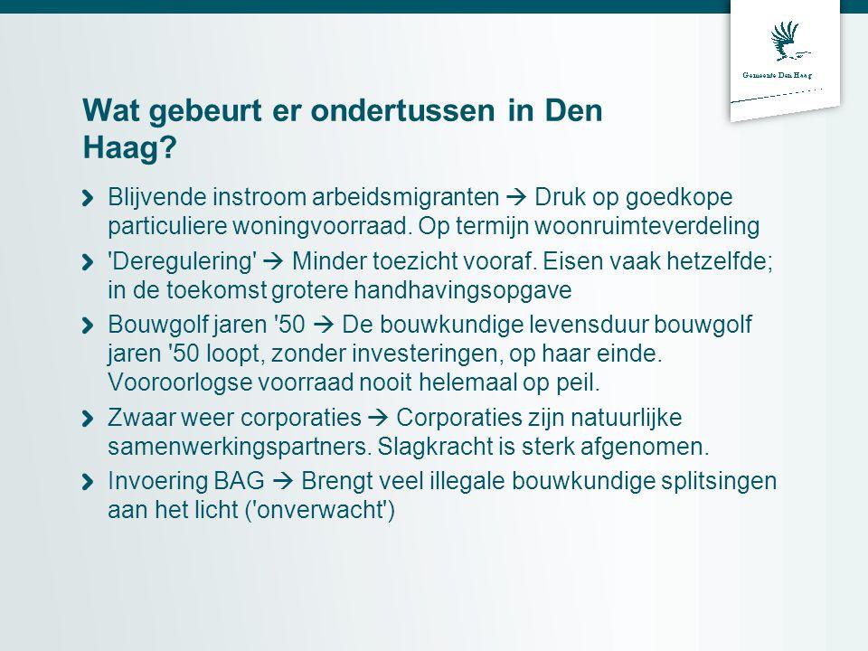 Wat gebeurt er ondertussen in Den Haag? Blijvende instroom arbeidsmigranten  Druk op goedkope particuliere woningvoorraad. Op termijn woonruimteverde