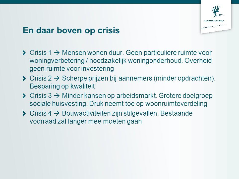 En daar boven op crisis Crisis 1  Mensen wonen duur. Geen particuliere ruimte voor woningverbetering / noodzakelijk woningonderhoud. Overheid geen ru