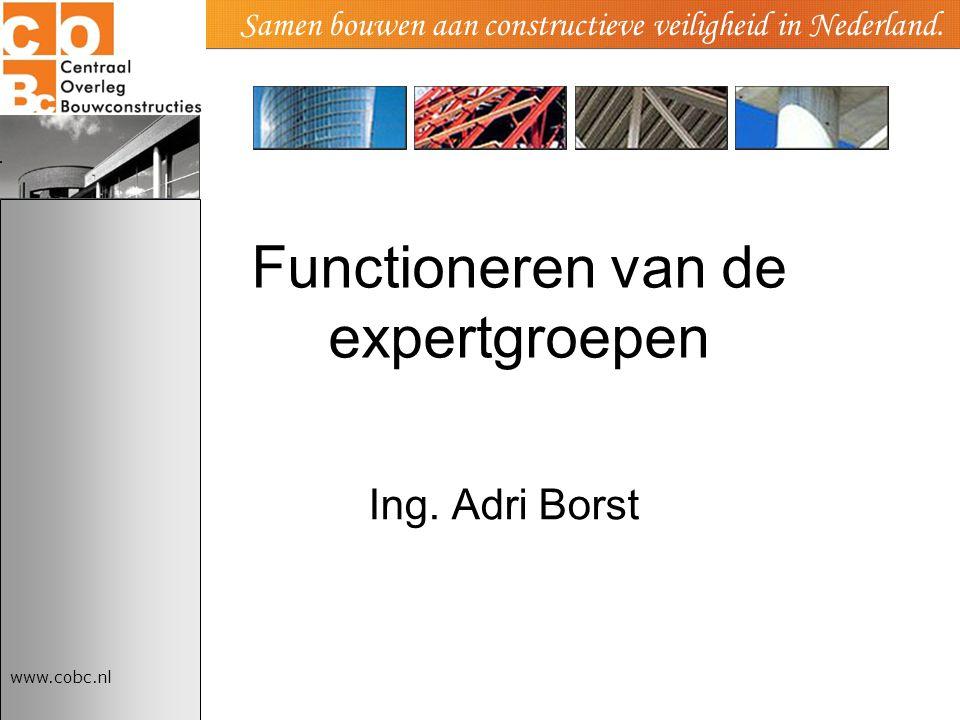 www.cobc.nl Samen bouwen aan constructieve veiligheid in Nederland. Functioneren van de expertgroepen Ing. Adri Borst