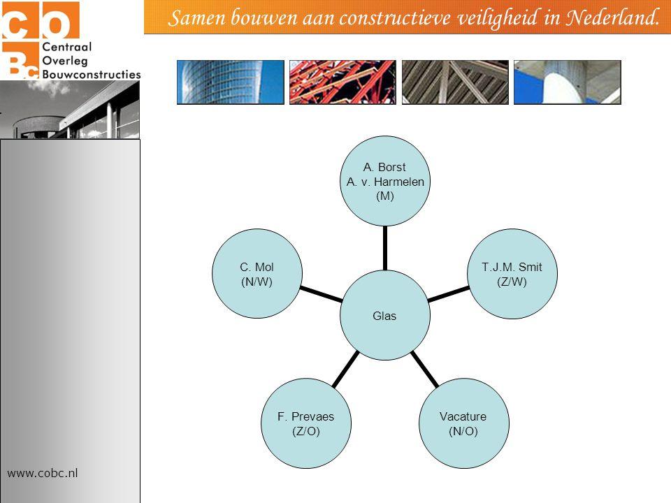 www.cobc.nl Samen bouwen aan constructieve veiligheid in Nederland. Glas A. Borst A. v. Harmelen (M) T.J.M. Smit (Z/W) Vacature (N/O) F. Prevaes (Z/O)