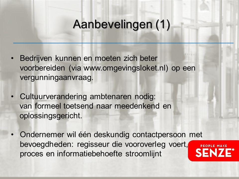 Aanbevelingen (1) Bedrijven kunnen en moeten zich beter voorbereiden (via www.omgevingsloket.nl) op een vergunningaanvraag.