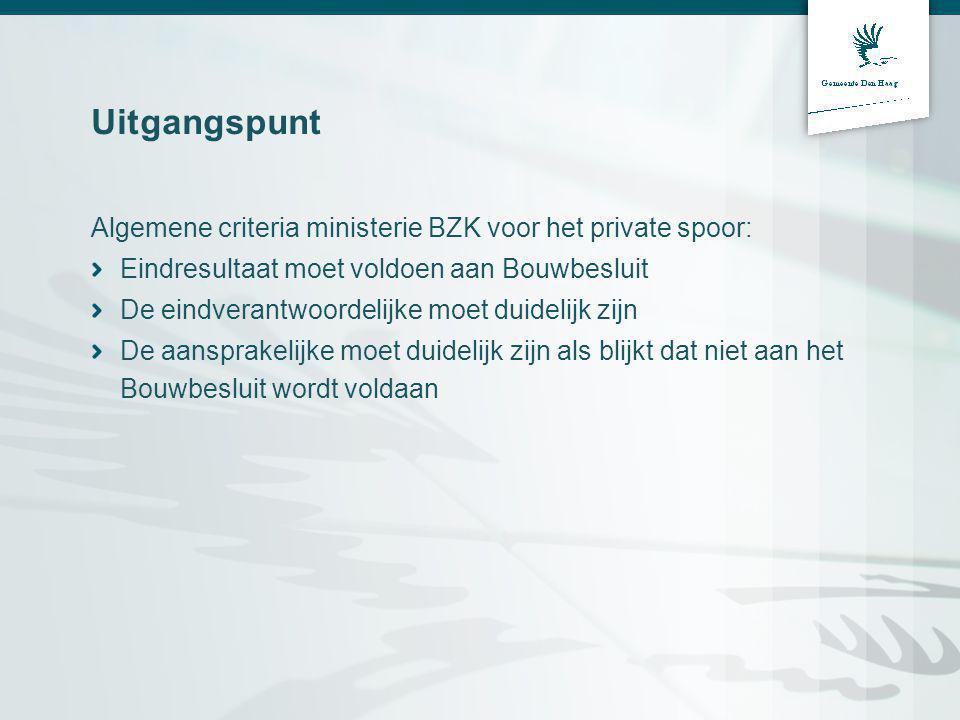 Uitgangspunt Algemene criteria ministerie BZK voor het private spoor: Eindresultaat moet voldoen aan Bouwbesluit De eindverantwoordelijke moet duidelijk zijn De aansprakelijke moet duidelijk zijn als blijkt dat niet aan het Bouwbesluit wordt voldaan