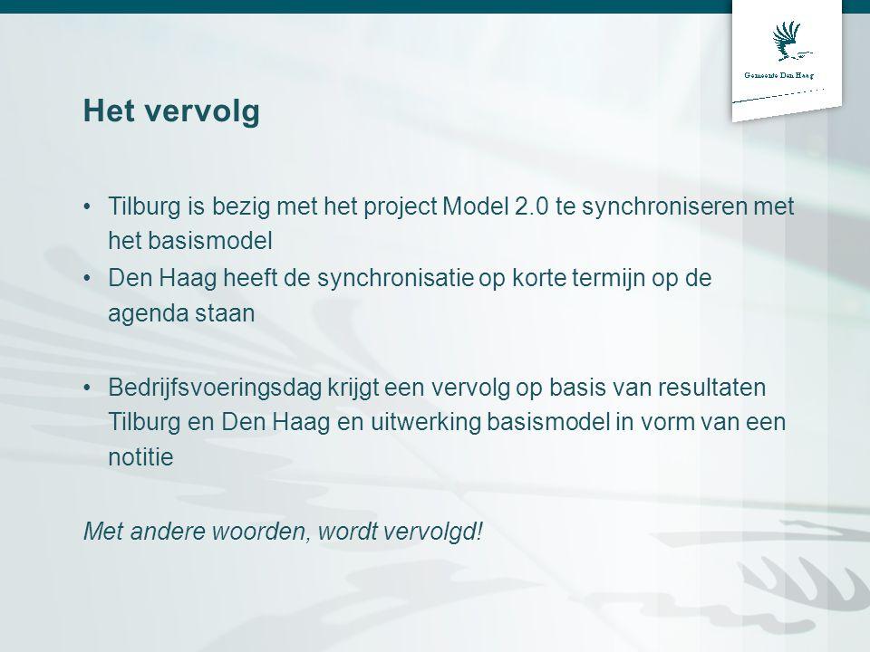 Het vervolg Tilburg is bezig met het project Model 2.0 te synchroniseren met het basismodel Den Haag heeft de synchronisatie op korte termijn op de ag