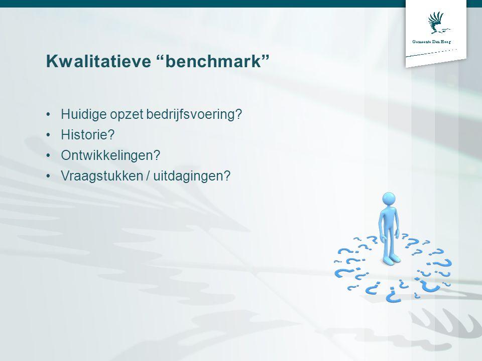 """Kwalitatieve """"benchmark"""" Huidige opzet bedrijfsvoering? Historie? Ontwikkelingen? Vraagstukken / uitdagingen?"""
