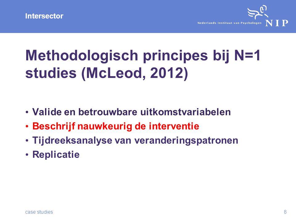 Intersector Methodologisch principes bij N=1 studies (McLeod, 2012) Valide en betrouwbare uitkomstvariabelen Beschrijf nauwkeurig de interventie Tijdreeksanalyse van veranderingspatronen Replicatie case studies8