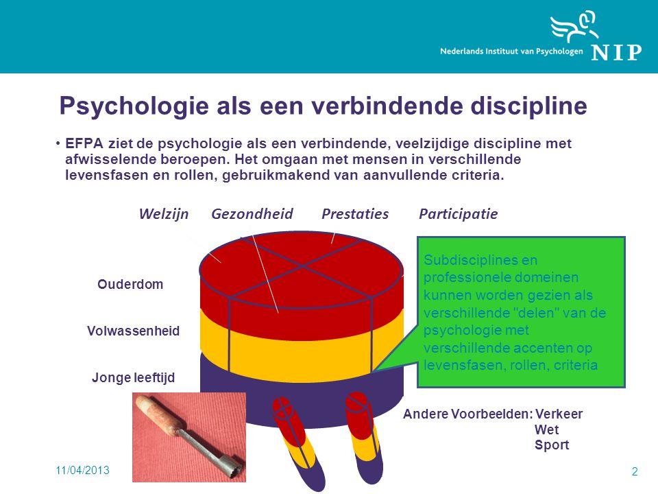 11/04/2013 2 Psychologie als een verbindende discipline EFPA ziet de psychologie als een verbindende, veelzijdige discipline met afwisselende beroepen.