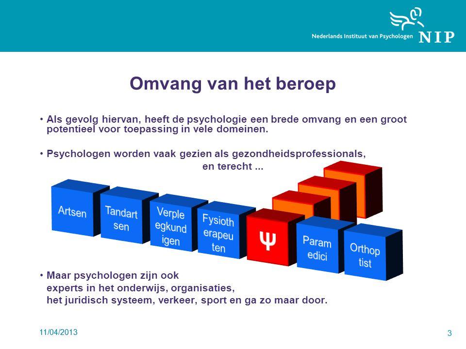 11/04/2013 3 3 Omvang van het beroep Als gevolg hiervan, heeft de psychologie een brede omvang en een groot potentieel voor toepassing in vele domeinen.
