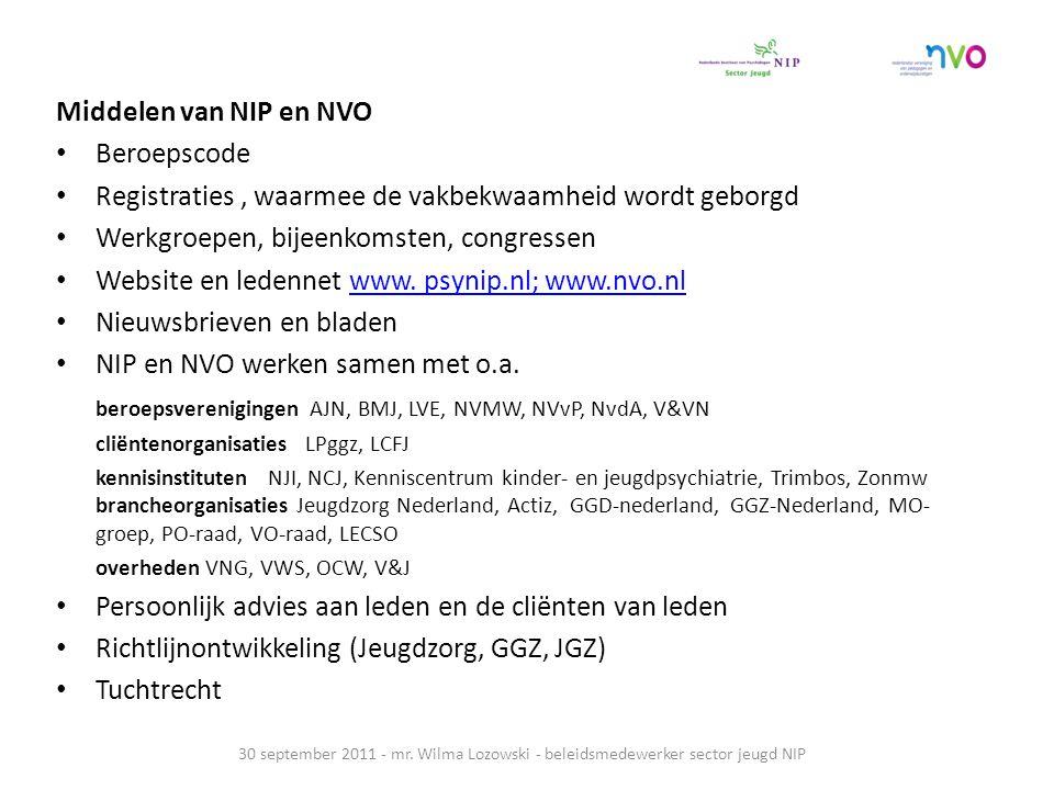 Middelen van NIP en NVO Beroepscode Registraties, waarmee de vakbekwaamheid wordt geborgd Werkgroepen, bijeenkomsten, congressen Website en ledennet w