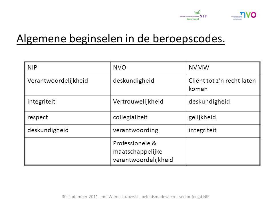Algemene beginselen in de beroepscodes.30 september 2011 - mr.
