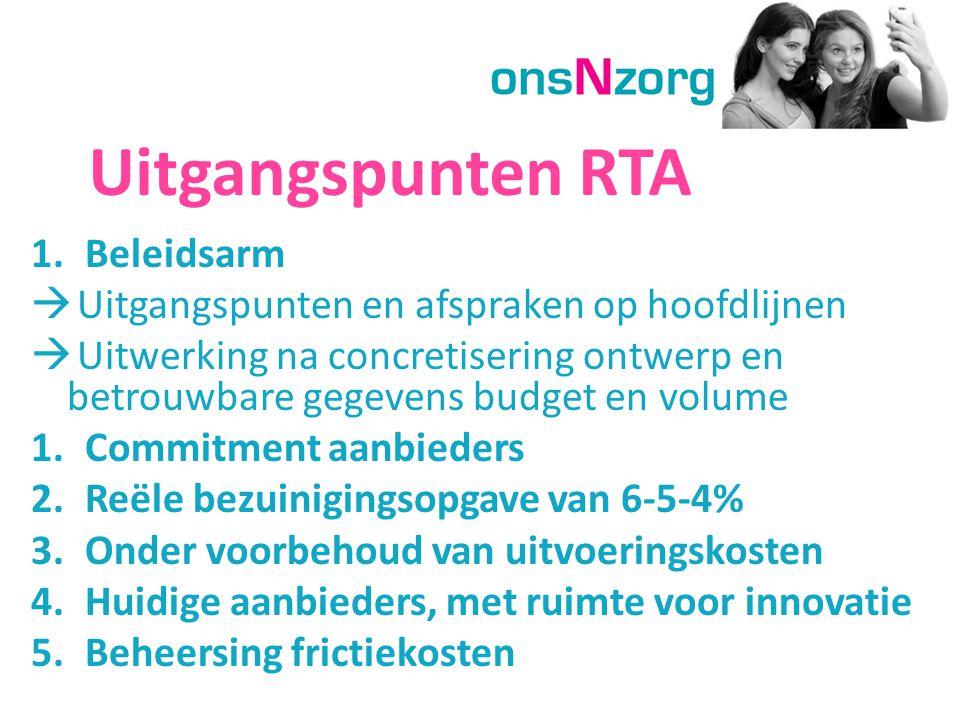 Uitgangspunten RTA 1.Beleidsarm  Uitgangspunten en afspraken op hoofdlijnen  Uitwerking na concretisering ontwerp en betrouwbare gegevens budget en