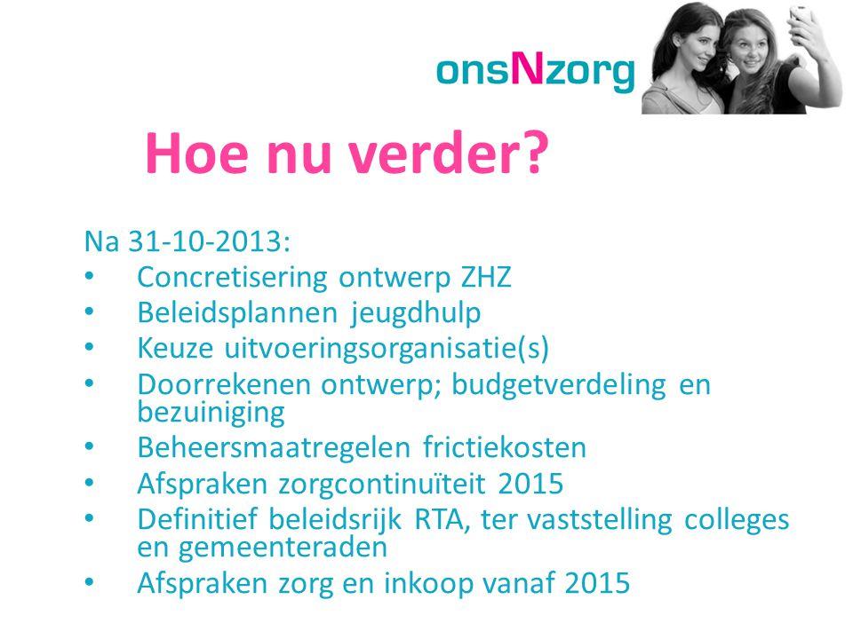 Hoe nu verder? Na 31-10-2013: Concretisering ontwerp ZHZ Beleidsplannen jeugdhulp Keuze uitvoeringsorganisatie(s) Doorrekenen ontwerp; budgetverdeling