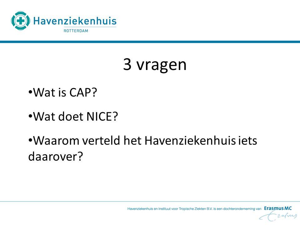 3 vragen Wat is CAP? Wat doet NICE? Waarom verteld het Havenziekenhuis iets daarover?