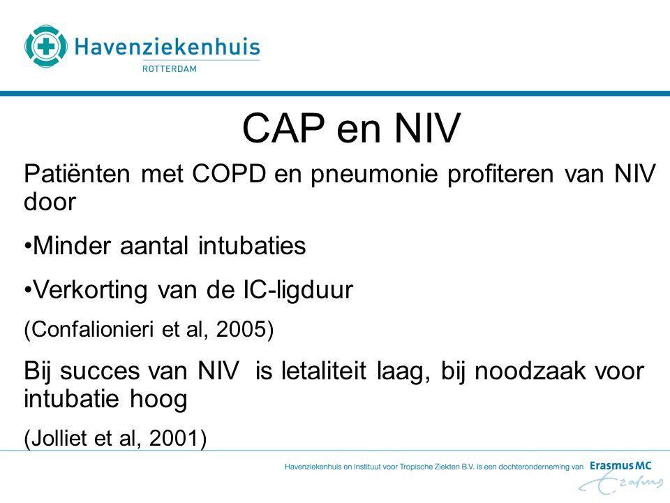 CAP en NIV Patiënten met COPD en pneumonie profiteren van NIV door Minder aantal intubaties Verkorting van de IC-ligduur (Confalionieri et al, 2005) B
