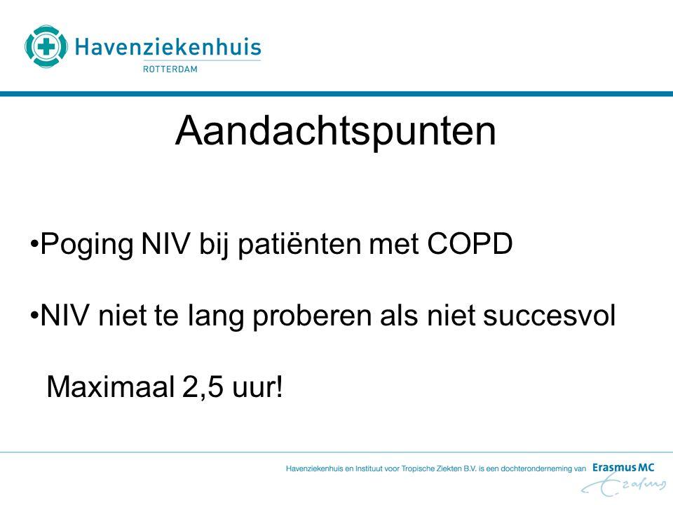 Poging NIV bij patiënten met COPD NIV niet te lang proberen als niet succesvol Maximaal 2,5 uur! Aandachtspunten