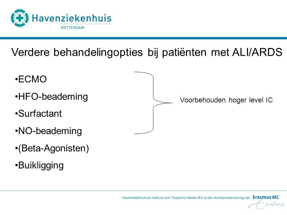 Verdere behandelingopties bij patiënten met ALI/ARDS ECMO HFO-beademing Surfactant NO-beademing (Beta-Agonisten) Buikligging Voorbehouden hoger level